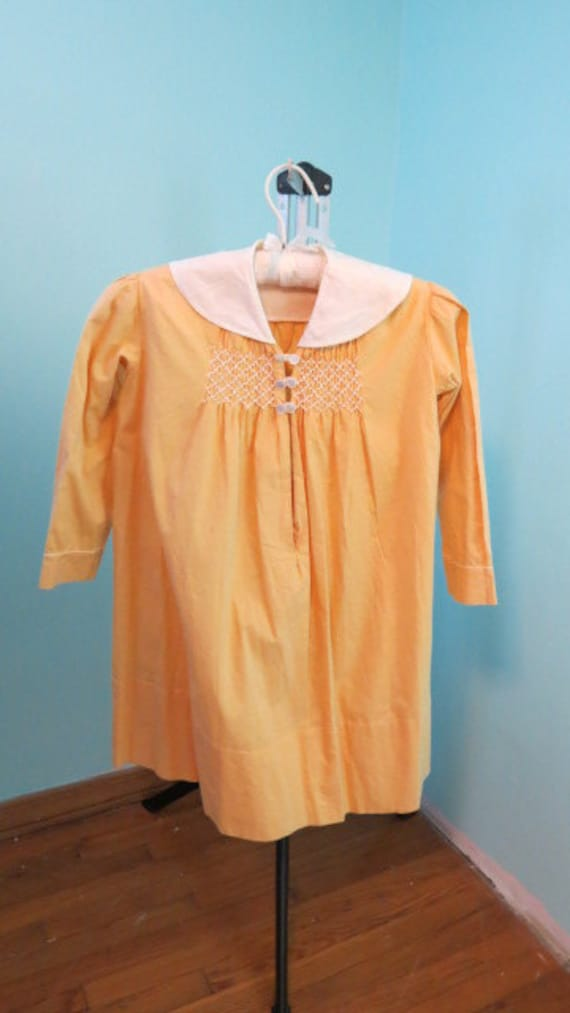 1920s- 30s Girls Yellow Cotton Dress with Smocking