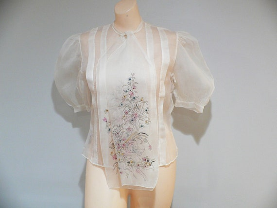 1940- 1950's  Blouse, Organdy Hand Painted Blouse,