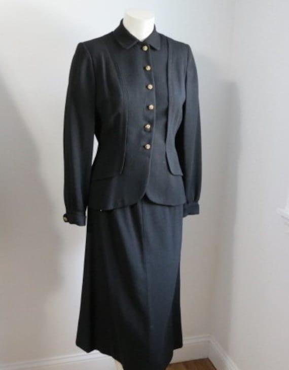 1940's Forstmann Black Wool Gabardine Suit