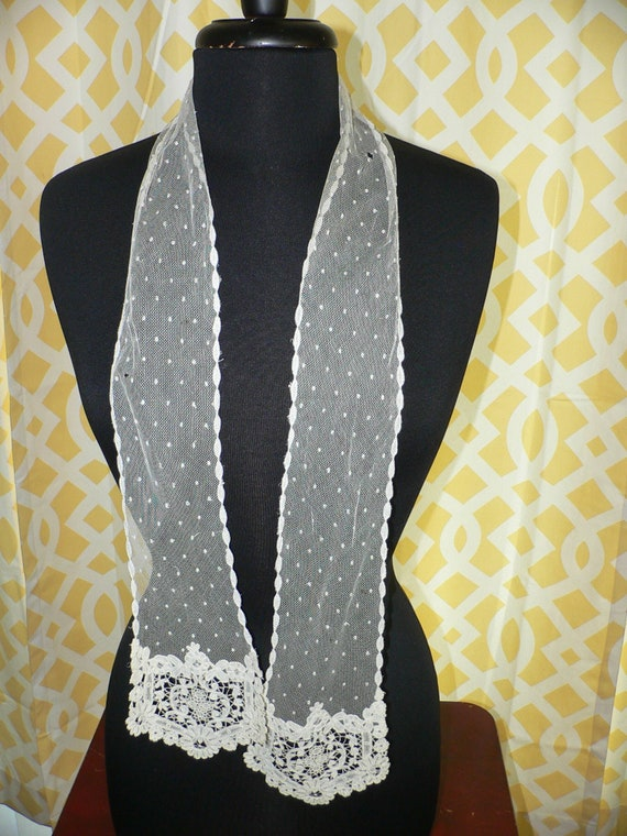 Antique Lace Scarf with Brussels Bobbin Lace. Net