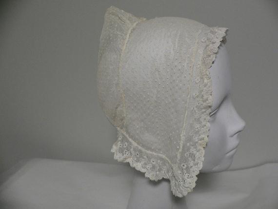 Antique Embroidered Net Lace Bonnet.