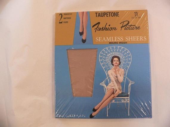 60s Vintage Seamless Sheer Mesh Nylon Stockings Size 11 33-34 inches 2 Pair 1950s