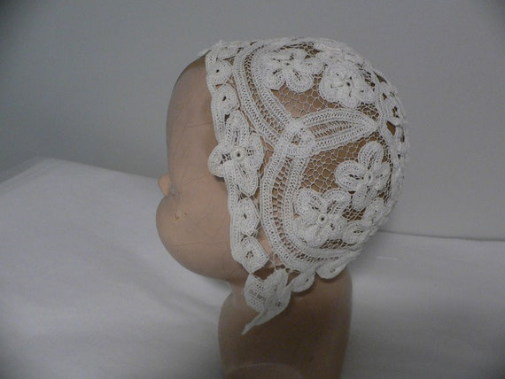 Antique Handmade Tape Lace Baby / Doll Bonnet