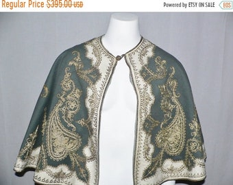 ON SALE Victorian  Edwardian Cape  Trimmed with Metallic Gold Couching - Turkish