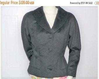 ON SALE 1940s Black Wool Nipped Waist Jacket with Dolman Sleeves and Shawl Collar - Size L