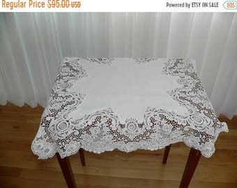 ON SALE Antique Schiffli Lace Table Cover, 25 x 25 Inch Chemical Lace Doilie, Machine Lace Table Cover