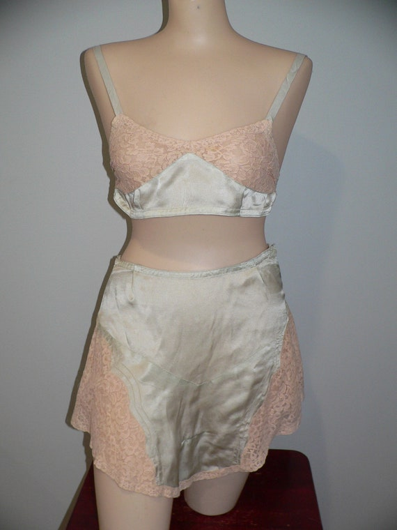 1930's Pale Green  Silk Bra and Tap Pants with Ale