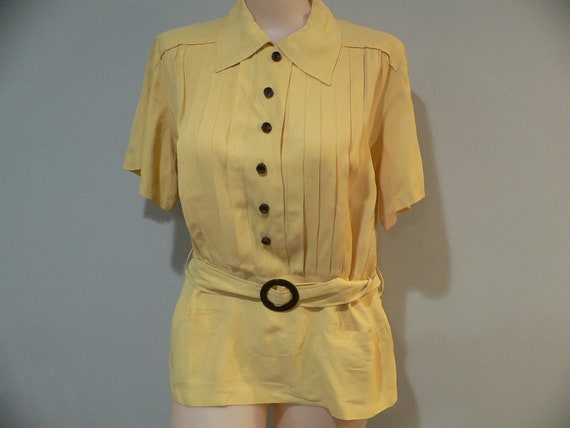 1940/s Yellow Belted Rayon Blouse with Brown Butto