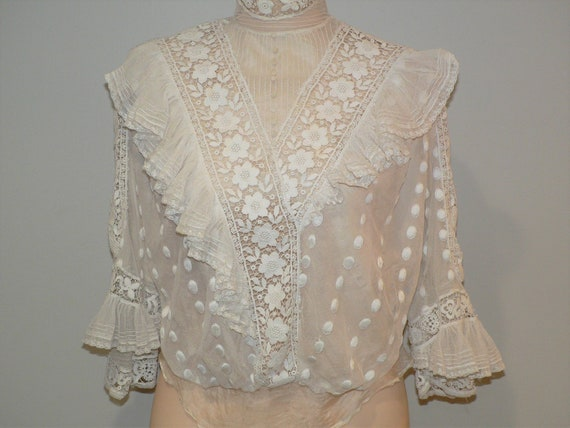 Antique Edwardian White Lace Bodice