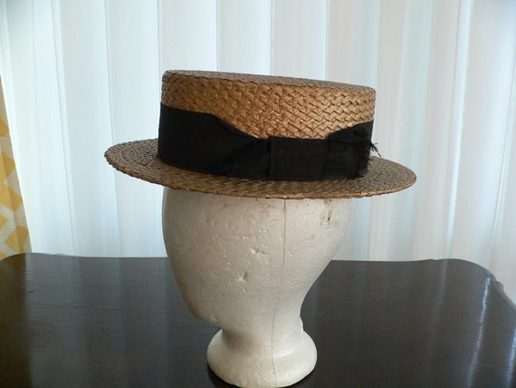 Antique 1920's Straw Boater