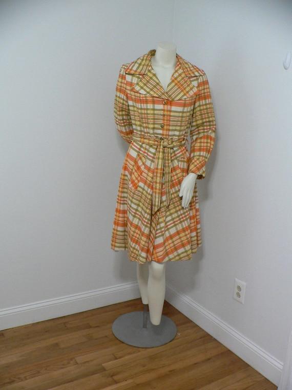 Vintage 1960's Plaid Princess Style  Coat