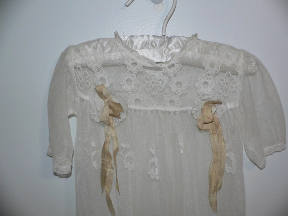 Antique Lace Christening Gown with Embroidered Net
