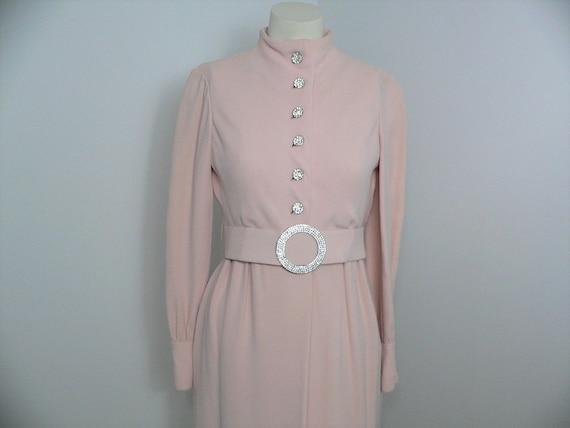 1960's - 1970's Teal Traina Crepe Dress with Rhine