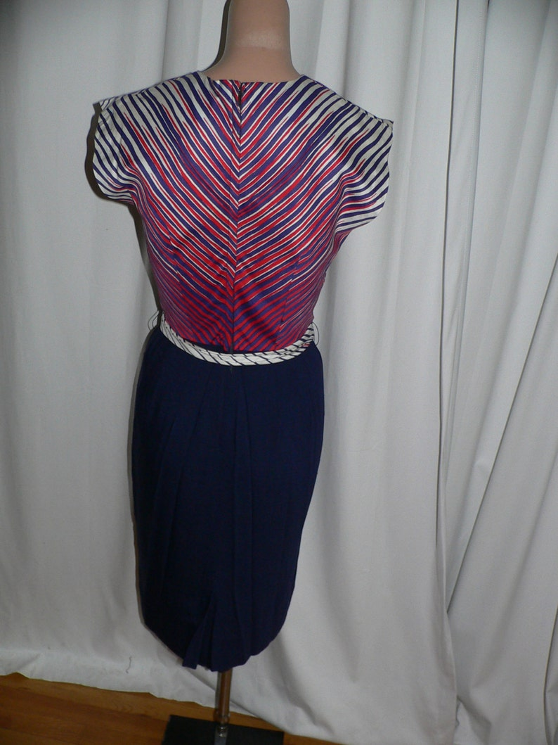 1950/'s Red White Blue Summer Cotton Dress by Dress Town Inc California