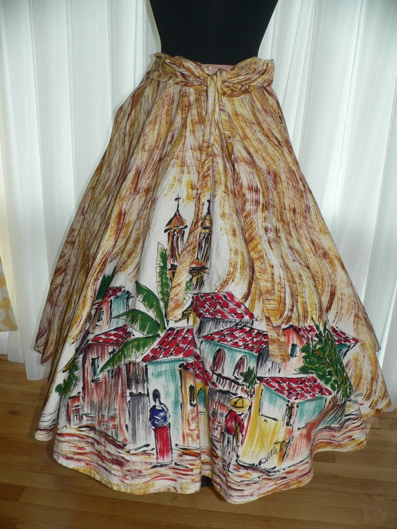 Vintage 1950s Hand Painted Mexican Skirt, Full Cir