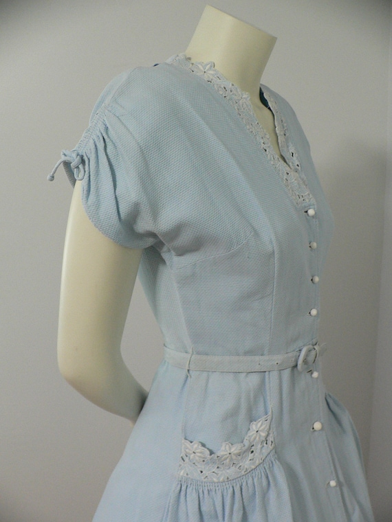 1940's Blue Pique Cotton Embroidered Summer Dress - image 7