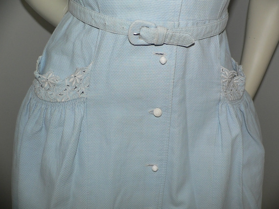 1940's Blue Pique Cotton Embroidered Summer Dress - image 5