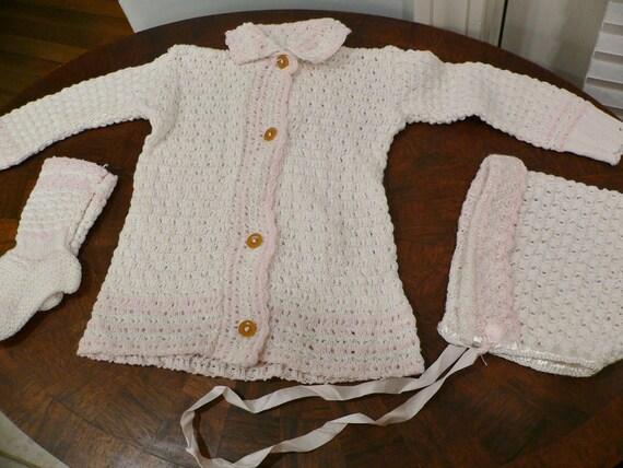 Vintage 1940s 1950s Baby Girl 3 Peice  Sweater Set