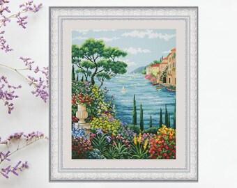 Counted Cross Stitch Kits Sunny Greece DIY Modern Cross Stitch Kit Hand Embroidery kit Unprinted canvas