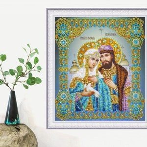 Beaded Embroidery kit DIY Orthodox icon Archangel Barachiel Beadwork Beading Hand embroidery Beads stitching