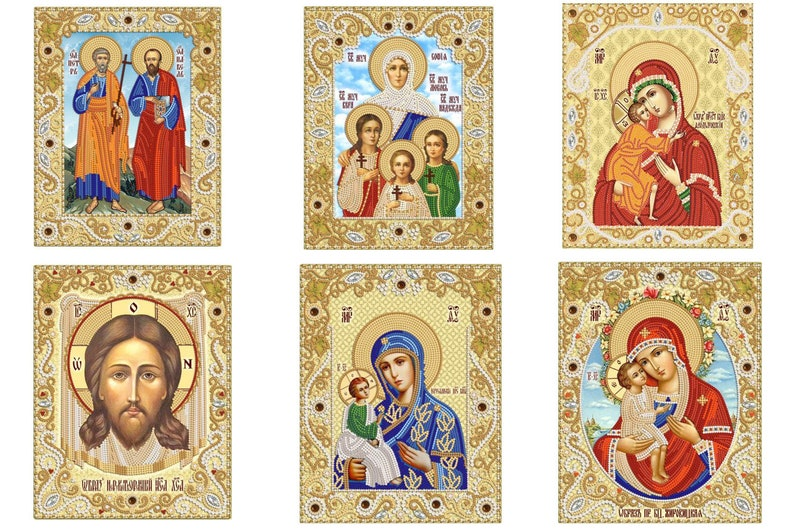 Virgin Mary Tenderness In Crown orthodox icon Beaded Embroidery DIY kit