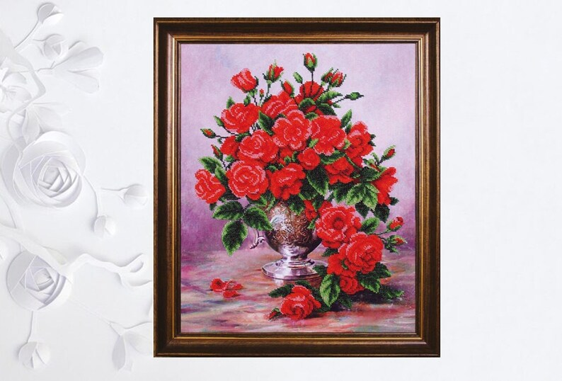 Bead Embroidery kit Flowers Red Roses DIY Beadwork kit Beading kit Hand embroidery Beaded Stitching