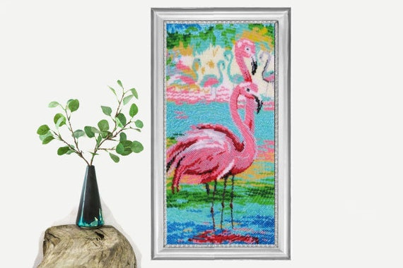 DIY beaded picture Flamingo.bead embroidery kit