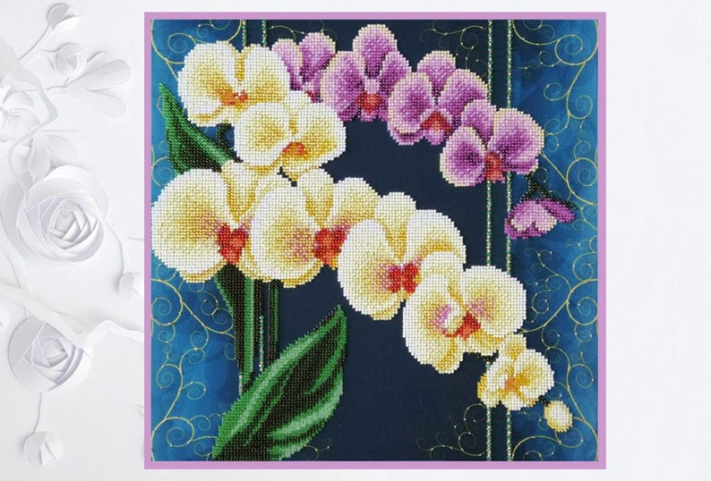 Bead Embroidery Kit Orchids Flowers DIY Beadwork kit Beading kit Hand embroidery Beaded Stitching