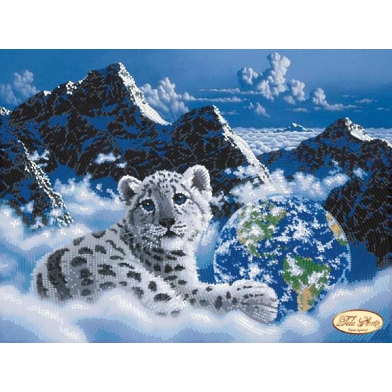 Snow leopard perle broderie Kit Kit Kit bricolage broderie perlée main broderie perles broderie de perles Perles coutures Wall Decor Kit avec perle f1c5f3