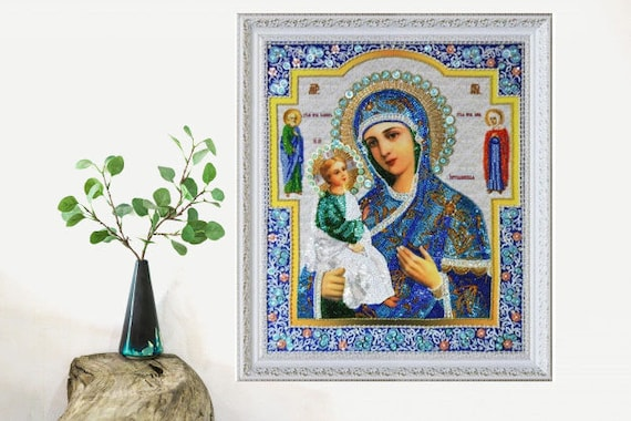 Beaded Embroidery Kit Praying Virgin Mary Mother of God Beading Beadwork DIY