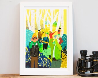 Watching You – A4 Giclée Art Print – Bird watcher illustration – bright nature print - GP15A4