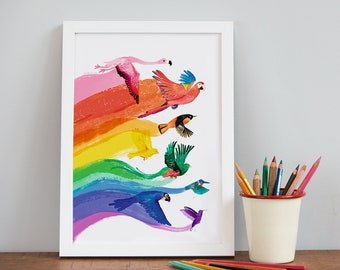 Bird Rainbow A4 Print - Pride Print - Colourful Bird Art - DP31A4