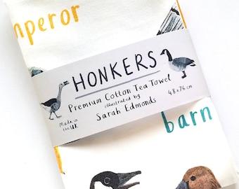 Honkers Cotton Tea towel - cheeky duck bird design - pun teatowel - TT14