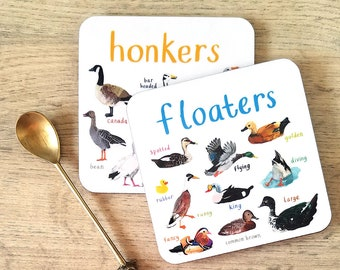 Pair of 'Floaters' and 'Honkers' Coasters