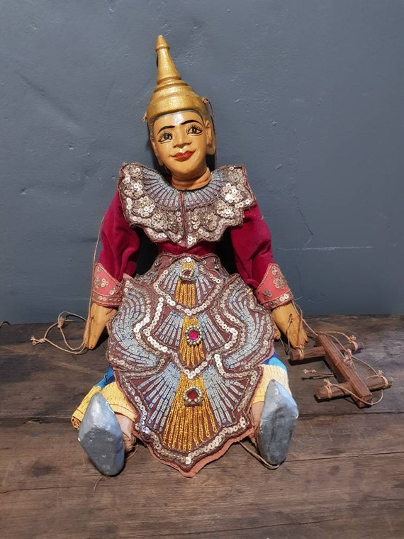 Beautiful Vintage Burmese / Asian Wooden Marionette / Puppet with stunning detailed outfit.
