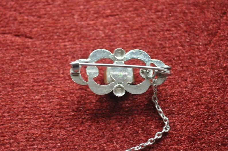 Blue Diamant\u00e9 and Safety Chain Vintage Brooch Decorative Design