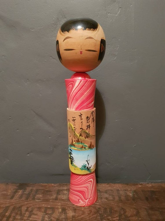 Vintage Japanese Kokeshi - 'Wooden Doll' - Traditional Art Doll - Mount Fuji
