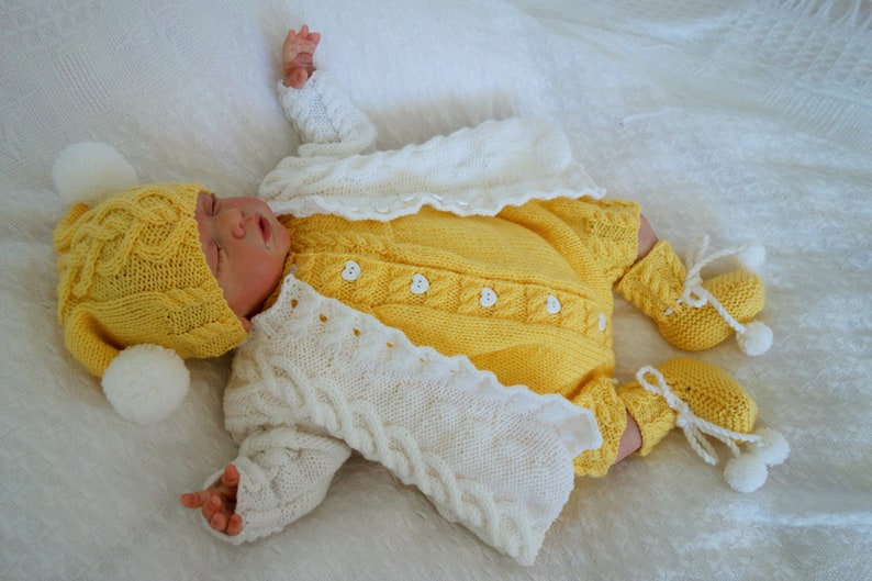 e5b247eba Baby romper set baby cardigan hat bootees. Reborn baby