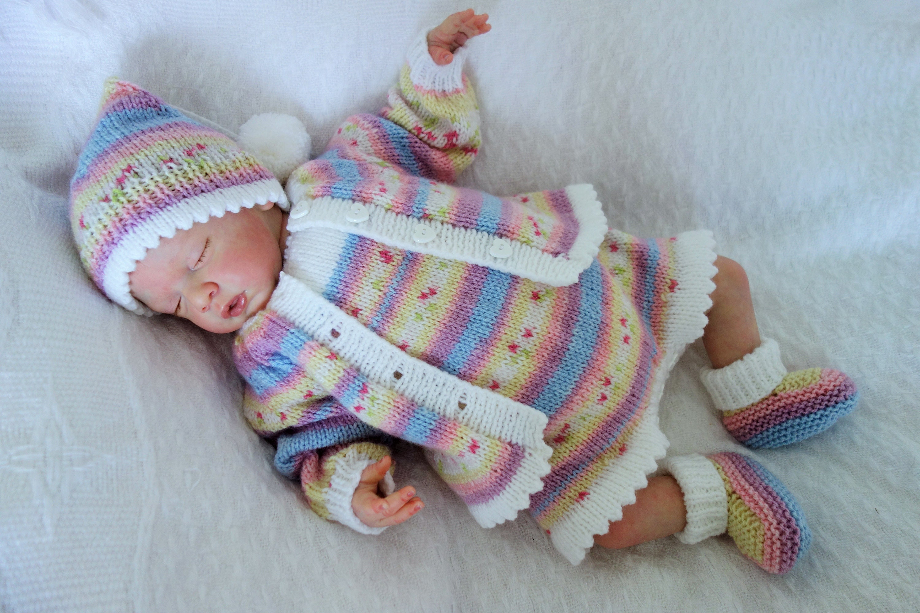 3-6 months NEW Hand knitted  baby girl bonnet with pastel shade lace trim