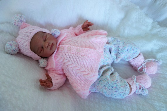 35fcf95cc Hand knitted baby girl s outfit. Matinee coat hat