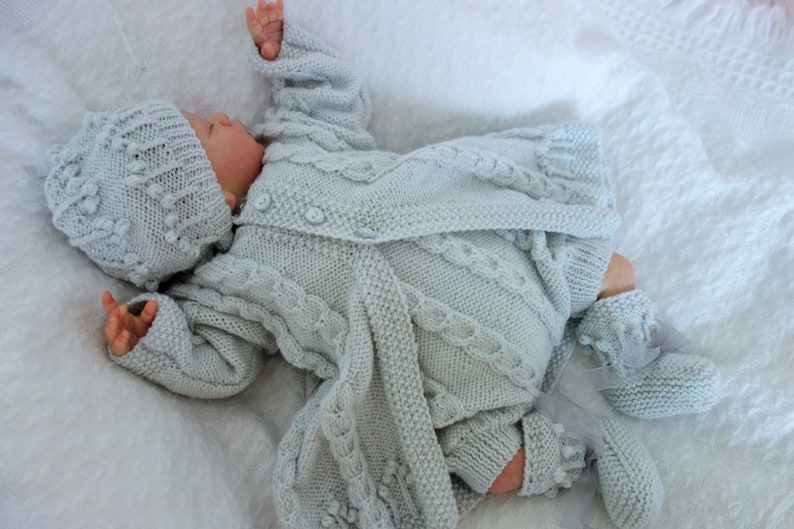 Long line coat Bootees Hand knitted christeningbaptismnaming ceremony outfit Newborn or reborn approx 19-20 Romper Hat Pale grey