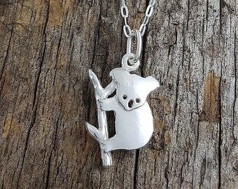 Koala on branch pendant in sterling silver