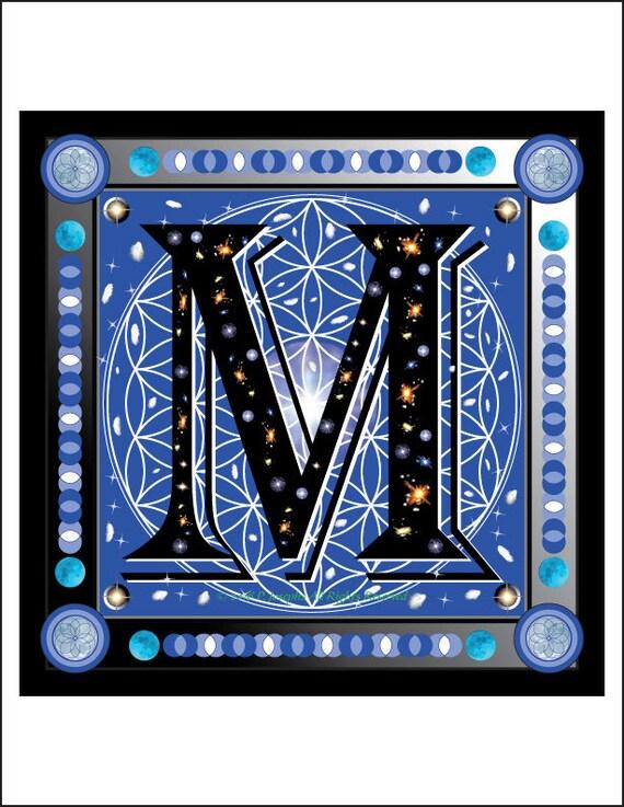 Letter Art Print.Sacred Geometry Illustrated Letter Art Print M