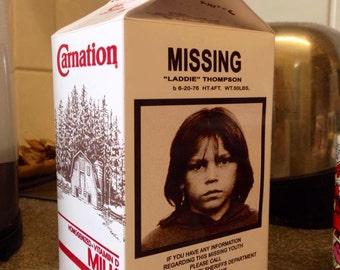 "Lost Boys Replica ""Laddie Thompson"" Milk Carton Horror prop"
