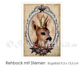 REHBOCK Stars Ironing Pictures Ironing Foil Ironing Foil Patches Applique Appli Fabric Picture T-Shirt Picture Deer Deer