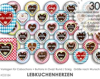 LEBKUCHENHERZEN 30 Cabochonvorlagen Cabochon Vorlagen digital Download Buttonvorlagen Bilder für Schmuck Cabochon Buttons template Collage