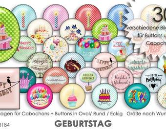 GEBURTSTAG 30 Cabochonvorlagen Cabochon Vorlagen digital Download Buttonvorlagen Bilder für Schmuck Buttons Cabochon template Collage