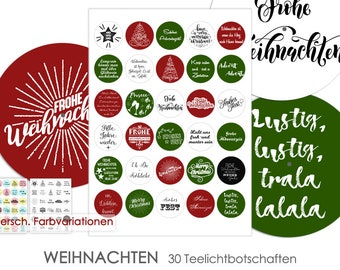 CHRISTMAS ADVENT Tea Light - Messages Tealight Templates Images for Tea Lights Digital File for Self Printing 3 Color Combos Selectable