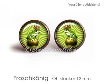 Studs FROSCHKÖNIG earrings hanging earrings stud earrings stud earrings Brisuren stud earrings stud earrings frog crown green fairytale