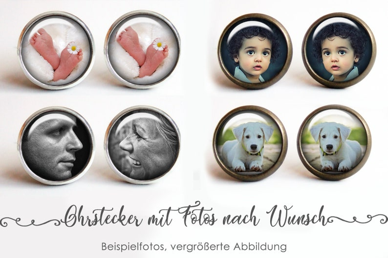 Studs with your photos earrings with picture of your choice image 0